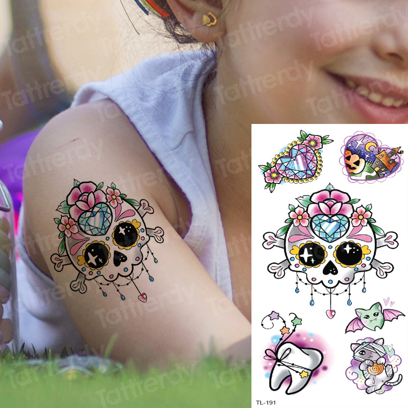 Cute Angel Wings Elf Tattoos Skull Fake Arm Sleeve Tattoos Kids Children Unicorn Tattoo Kids Halloween Tattoo Face Body Art Gift