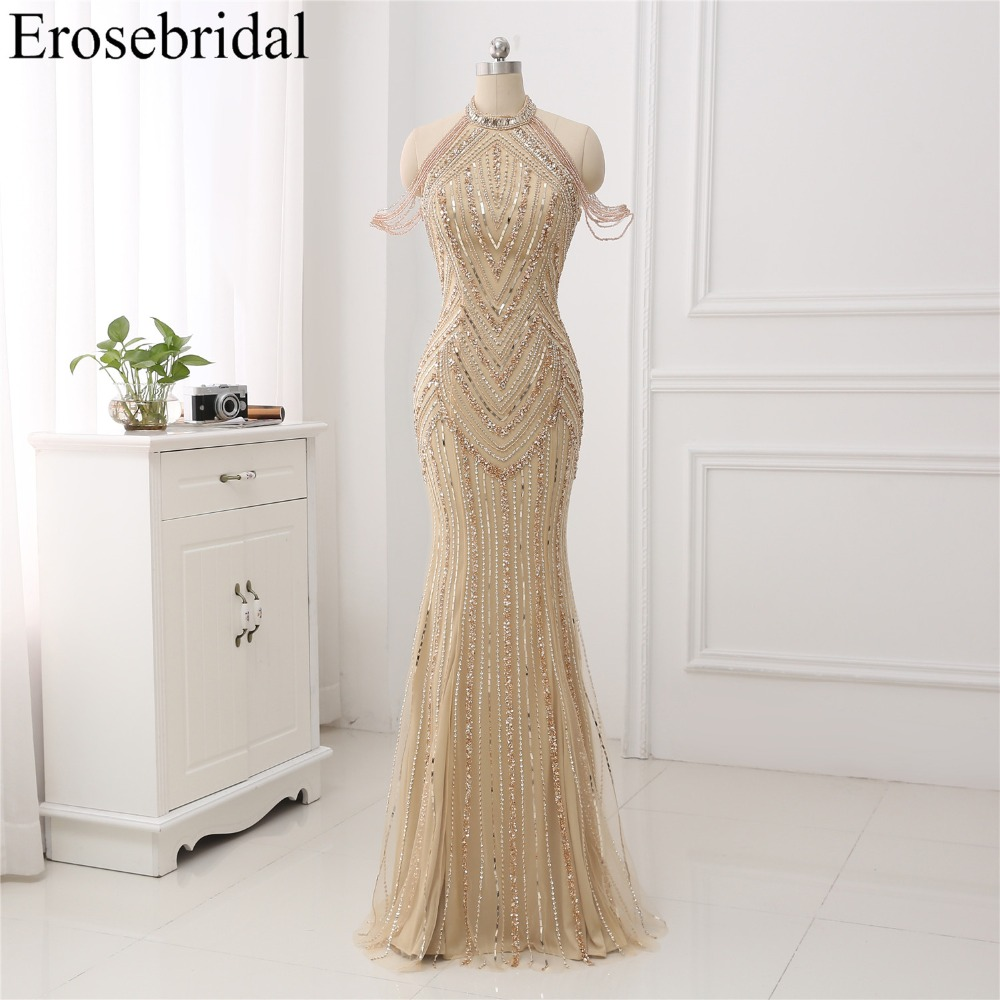 Deep Champagne 2018   Evening     Dress   Long Mermaid   Evening   Gowns Luxury Beaded Design robe de soiree In Stock 48 Hours Shipping