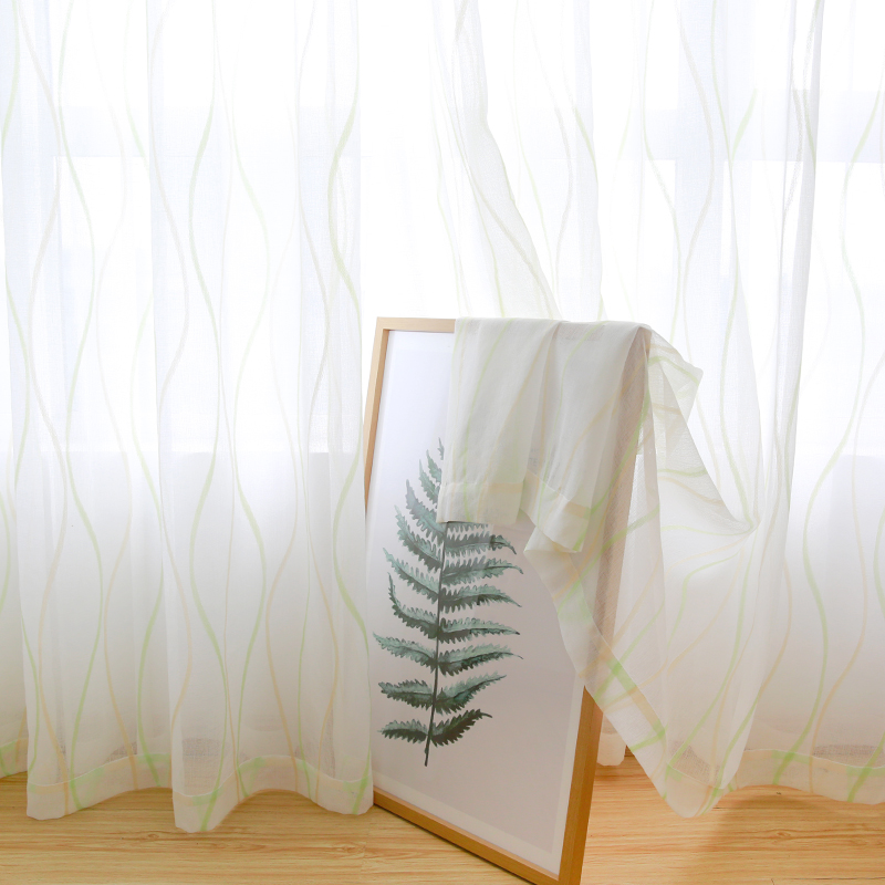 CITYINCITY JAQ Tulle Waved Curtains For Living room Voile Sheer 3d White Curtain for bedroom Dinning room Ready made Customized in Curtains from Home Garden