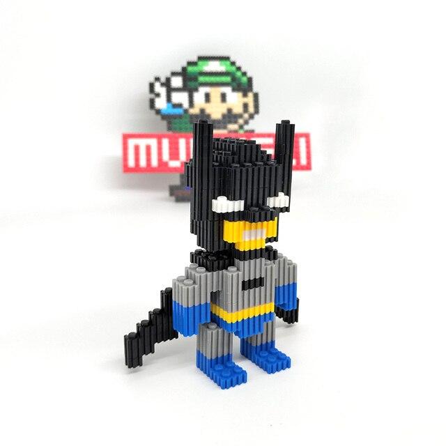 MUMUELI DC Batman 1000-1500 piezas bloques DIY Anime figura Mini 3D modelo Kit para niños rompecabezas construcción niños resina juguetes KL-BFX