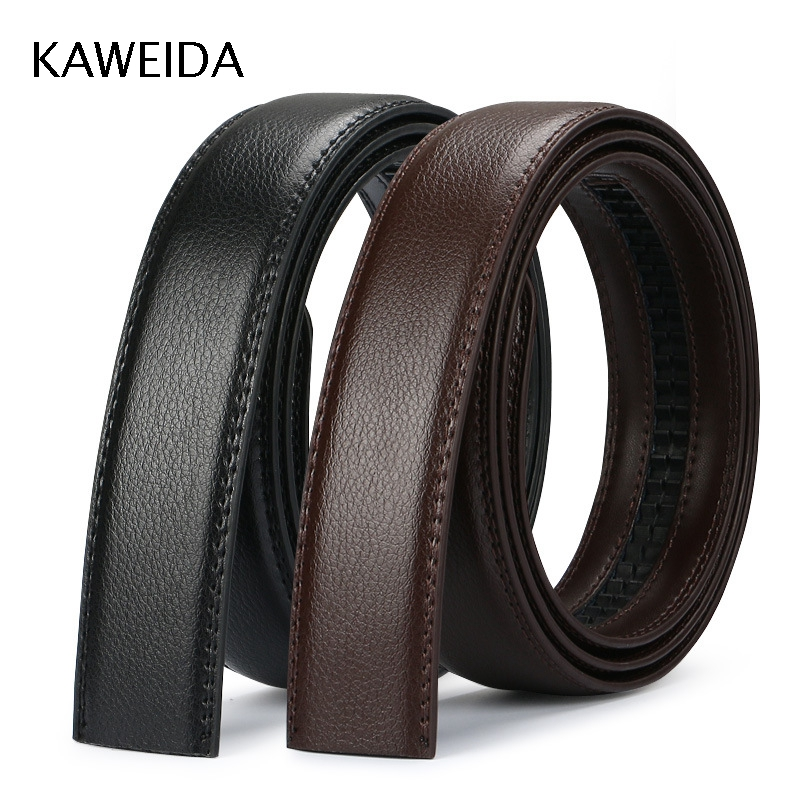 KAWEIDA 3.5cm Wide Cowskin Men's Genuine Split Leather No Without Buckle Waist   Belt   Body Black Brown   Belts   110-140cm Kemer Cinto