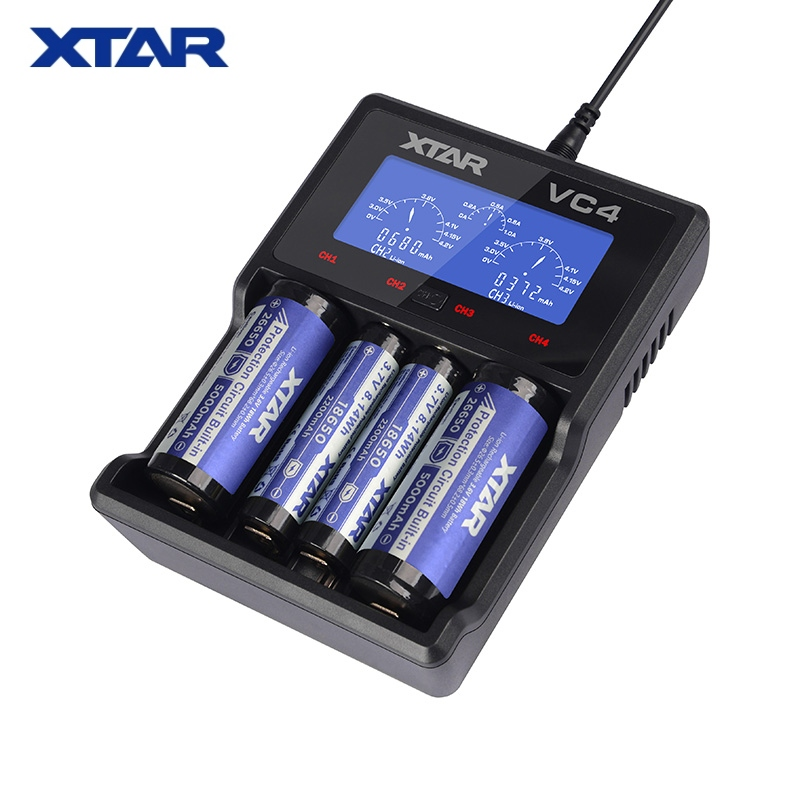 2018 XTAR VC4 Battery Charger 3.7V Intelligent Li-ion 18650 26650 10440 16340 18350 26500 AA / AAA NiMH Lithium Battery Charger