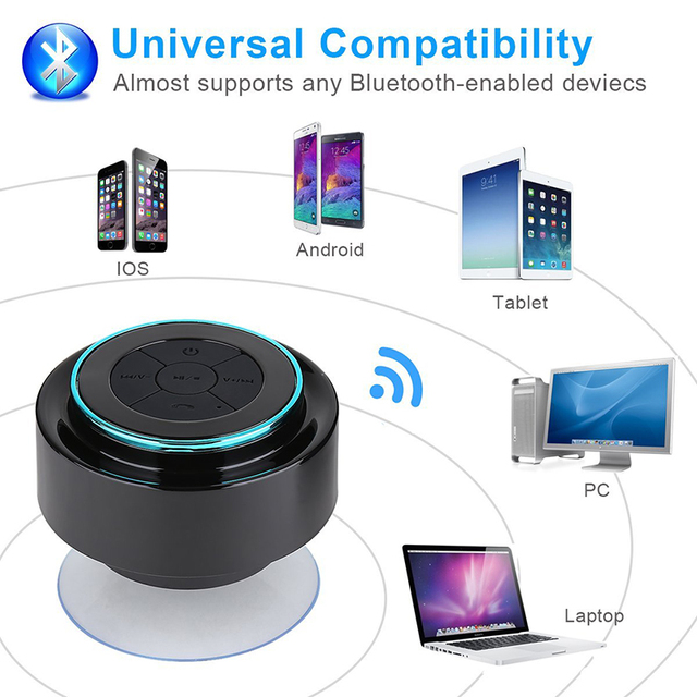 Haissky Mini Waterproof Bluetooth Speaker For iPhone Samsung Phone Laptop Shower Speaker With FM Radio Hands-Free Suction Cup