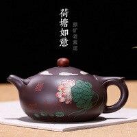 Wholesale Yixing old purple clay teapot 'Lotus wishful ' pot all handmade Zisha tea pot for brewing tea da hong pao tea infuser