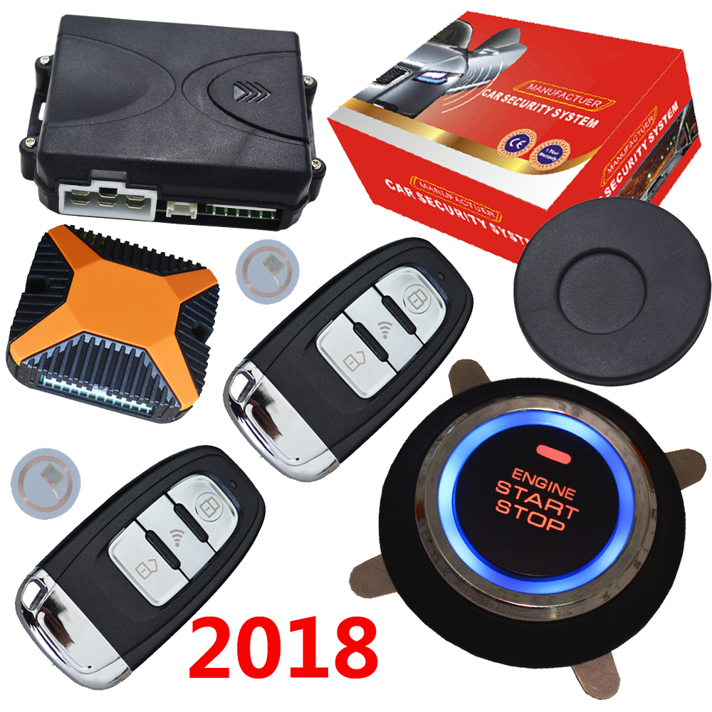 car keyless entry central lock remote engine start stop system with ignition start stop button rfid arm or disarm engine alarm