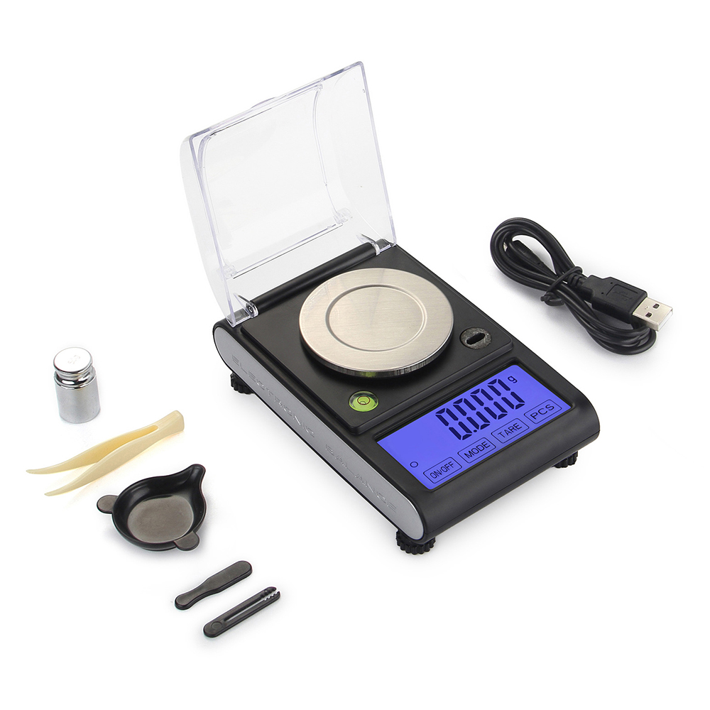 BORUiT 50g 0.001g Portable Mini Electronic LCD Digital Scales High Precision Jewelry Diamond Weight Mini Balance 100g 0 1g lab balance pallet balance plate rack scales mechanical scales students scales for pharmaceuticals with weight tweezer