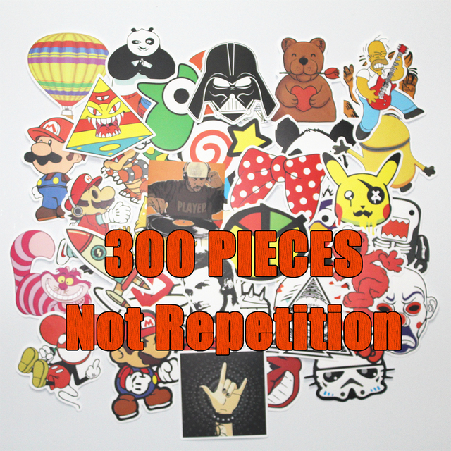 HOT 300PCS  JDM car styling funny cool sticker bomb waterproof graffiti Doodle sticker skateboard decal toy stickers