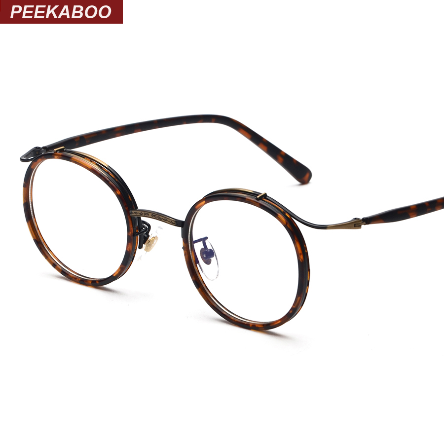 Peekaboo Vintage round tortoise eyeglasses optical men brand clear circle anti radiation glasses computer glasses women