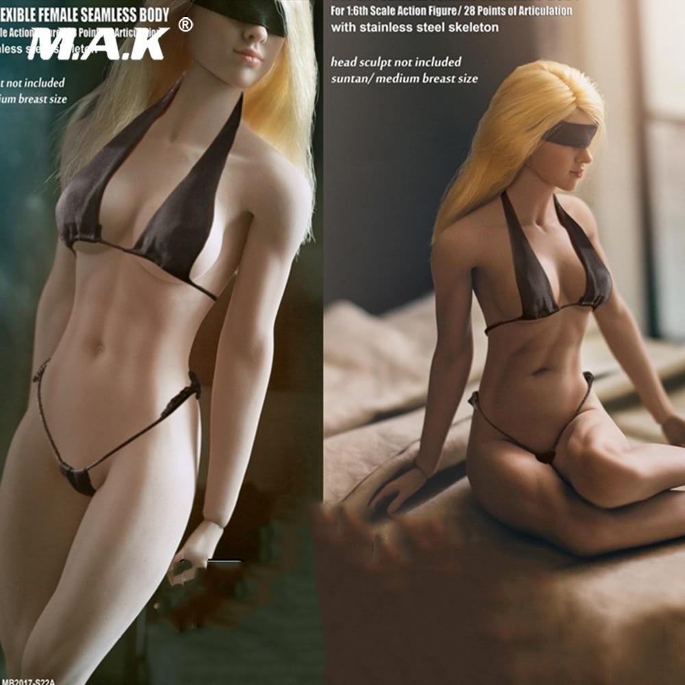 1/6 Scale S22A/S23B Female Super Flexible Female Seamless Body Figure Model Suntan/Pale Color Medium Breast Doll For 1/6 Head