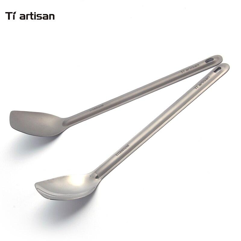 Tiartisan Reinem Titan Löffel Langen Griff 225mm Camping Löffel Außen Geschirr Poliert Scoop oder Sandgestrahlt Löffel