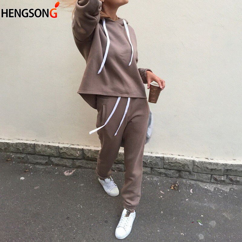 New fashion Casual suits autumn hooded pullover fleece & loose pants two-piece set women solid hoodies + trousers