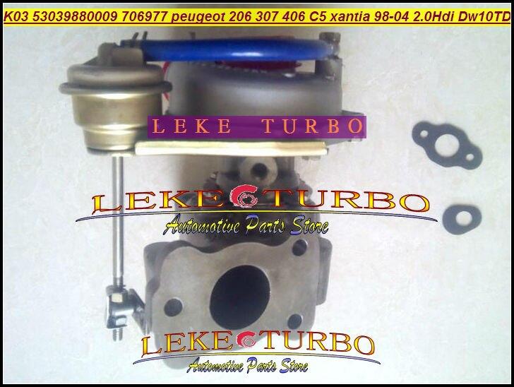 CHEAP K03 53039880009 706977-0003 Turbo Turbocharger For Peugeot 206 307 406 For Citroen C5 Xantia DW10TD RHY 98-04 2.0L HDI peugeot 307 1 6 hdi