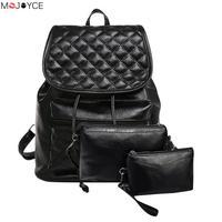 3Pcs Set Small Women Backpacks Designed Brand Women Backpack Leather School Bag Women Classic Retro Style