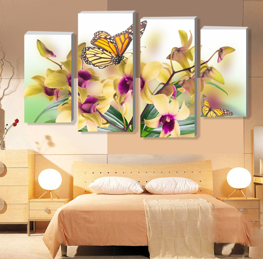 ⊱4 Panels Yellow Phalaenopsis Purple Flower Large HD Picture Canvas ...