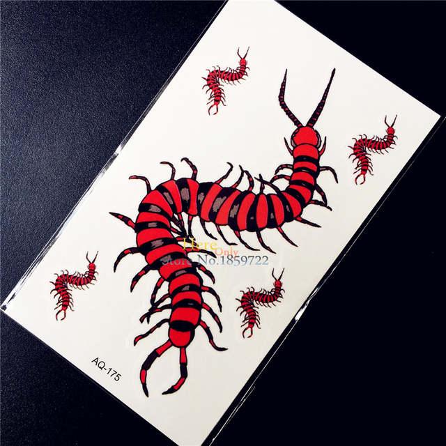 US $0 37 5% OFF Centipede Designs Fake Waterproof Tattoo MEn Body Arm  Painting Tattoo Stickers Chilopoda Kids HAQ 175 Women Makeup Tattoo  Earwig-in