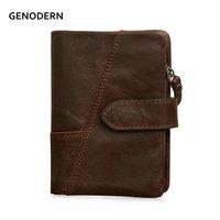 GENODERN коричневый в стиле «Ретро» Для мужчин мужской бумажник с двумя отделениями большой Ёмкость мужской кожаный кошелек с съемный карман д...