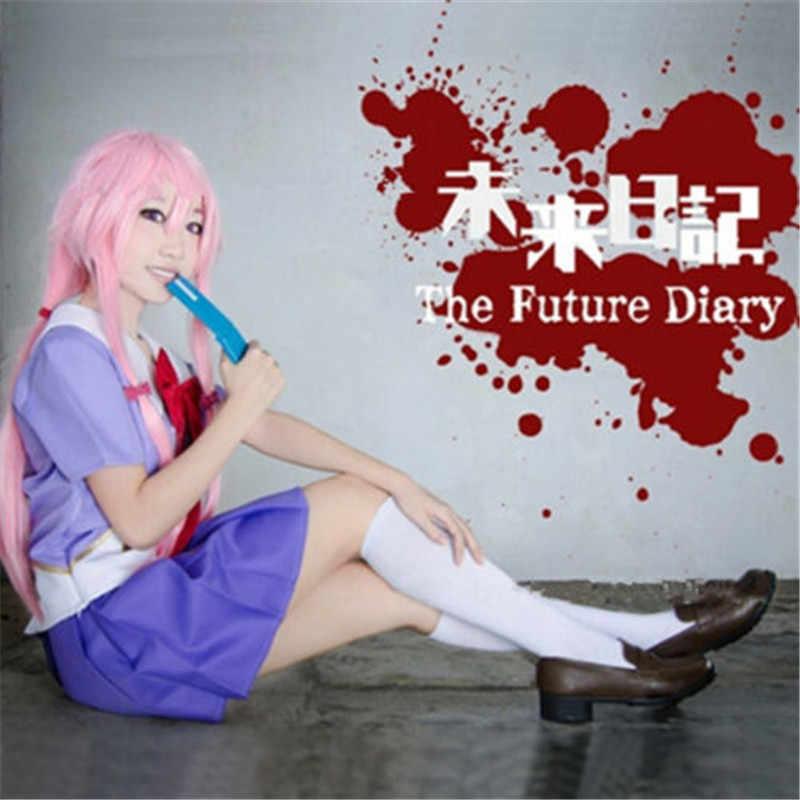 Disfraces de Halloween para niñas Cosplay future Diary Mirai nikki 2nd Gasai Yuno traje uniforme con peluca