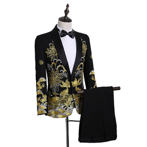 Image 5 - PYJTRL Male Shawl Lapel White Black Red Embroidered Prom Dress Suits Stage Singer Costume Homme Mens Suits With Pants