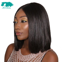 Allrun Lace Frontal Brazilian Straight Hair Bob Wigs 100% Short Lace Front Human Hair Wigs Non Remy For Women Middle Part 8 18