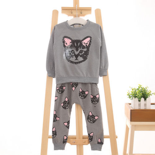 Cute Cat Baby Girls Clothes 2-7Y Toddler Kids Clothing Set Long Sleeve TOP + Pant 2PCS Outfit