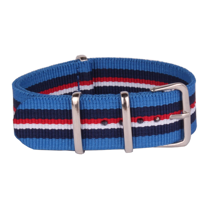 все цены на Wholesale 20 mm Stripe Red White Military Sport Nato Woven Fiber watchband 20mm Nylon Watch Straps Wristwatch Band Buckle fabric онлайн