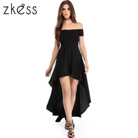 Zkess Off Shoulder Women Summer Bohemian Irregular Beach Dress Loose Flare Tunic Female Short Sleeve Beachwear