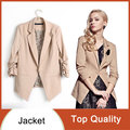 2016 New Fashion women's Elegant Rolled up sleeve Tops Single Breasted One button Leopard Lining Slim Ladies OL Jackets Coats