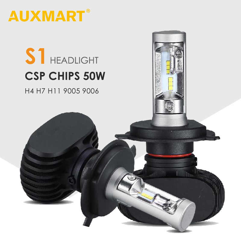 Auxmart S1 Series Hi-Lo Beam H4 LED Headlight for Car 6500K Led H7 Front Bulbs H11 Led 9005 9006 Car Headlamps 12v 50W Fanless