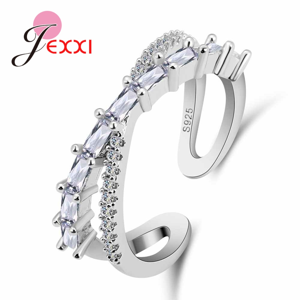 JEXXI Hot Women Engagement Jewelry Trendy Cross Finger Rings Paved Clear AAA Zircon Stone 925 Sterling Silver Female Anel
