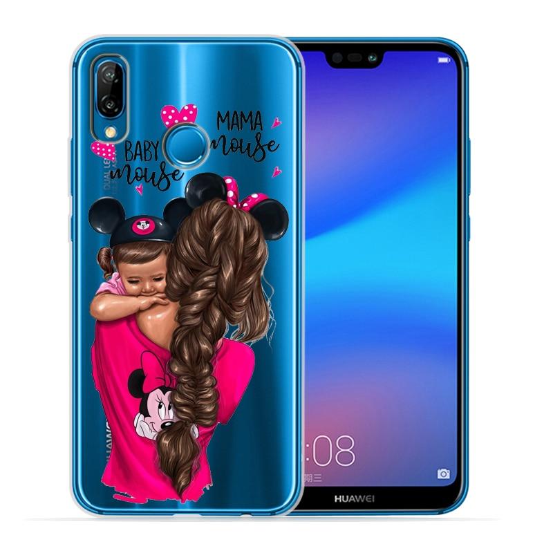 Чехол для телефона с черными и коричневыми волосами для мамы и дочки Huawei P30 Lite P30 Pro P20 Lite P8Lite P9Lite P10 P Smart Capa - Цвет: 01