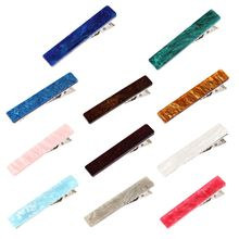 Japanese Minimalist Rectangle Duckbill Hair Clip Women Girls Acetate Marble Textured Candy Color Hairpin Non-Skid Teeth Barrette