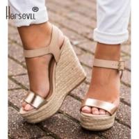 2019 women's sandals heel with wedges Heels buckle sandals Hollowed out super high sandals Espadrilles big size 40 43