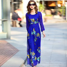 A35941 Wholesale M-5XL Spring 2017 European Women's Clothing Embroidery Long Dress Silk 100% Georgette Natural Silk Dress