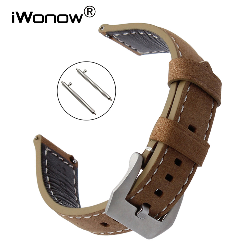 Quick Release Italy Genuine Leather Watchband 22mm for LG G Watch Urbane Asus ZenWatch 1 2 Men Ticwatch 1 46mm Wrist Band Strap
