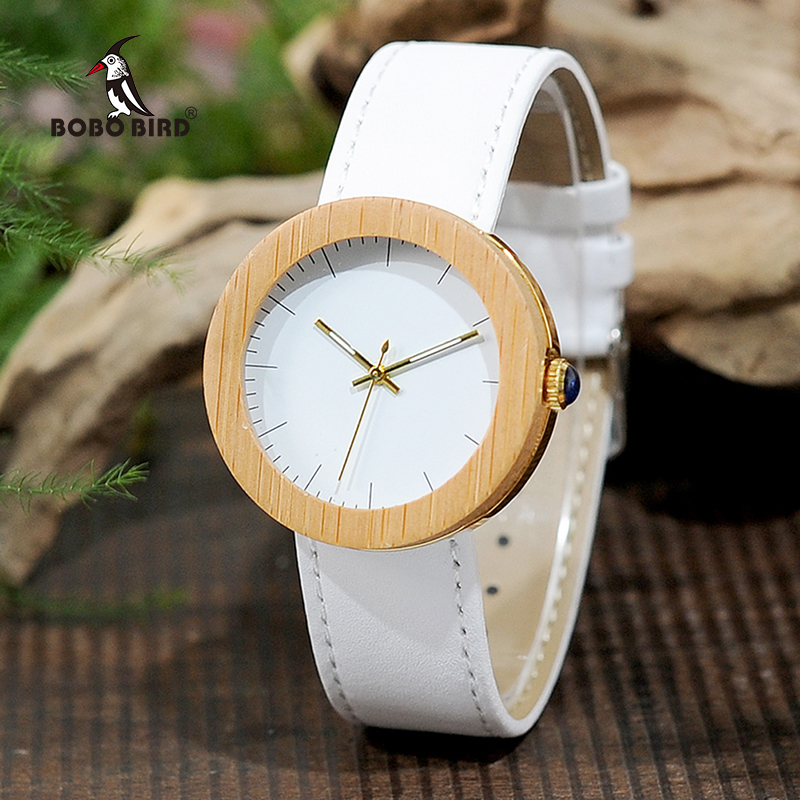 BOBO BIRD Women Bamboo Watches Gold Back Case Japan Quartz Movement as Good Gift for Ladies Stainless Steel Watch L-J27