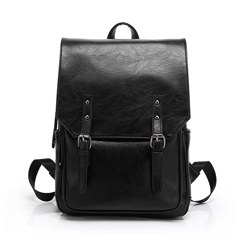 Fashion black backpack designer high quality PU leather school backpacks leisure travel bags for men and women mochilas escolar