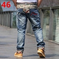 Spring men's plus size clothing Personality  male jeans plus size  roll up hem print Hip hop style 3 feet 5