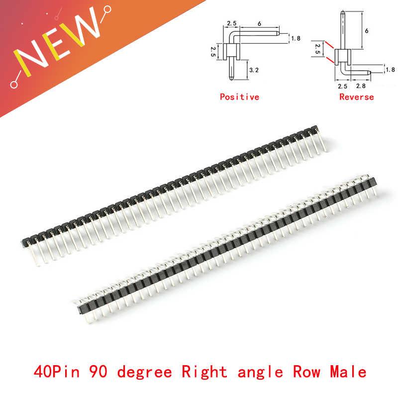 10 Pcs/lot 2.54mm 1*40 p 90 degrés angle droit simple rangée mâle R/A Pin en-tête positif/inverse PCB carte connecteur Pinheader