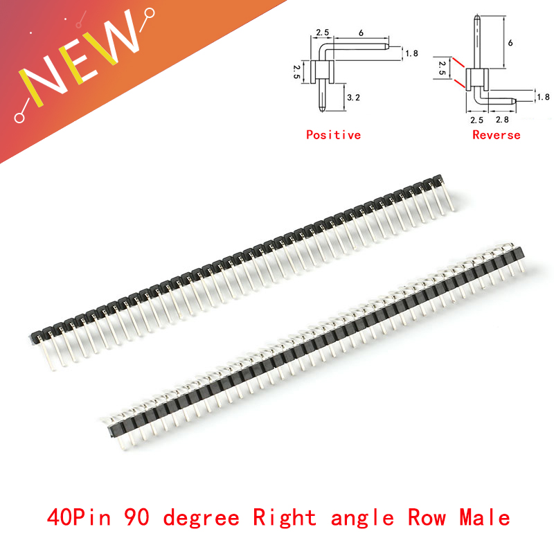 10Pcs/lot 2.54mm 1*40p 90 Degree Right Angle Single Row Male R/A Pin Header Positive/Reverse PCB Board Connector Pinheader