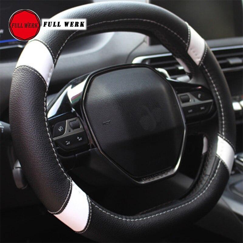 3 color DIY textura suave auto auto volante cubierta con agujas e hilo de cuero artificial coche cubre suite negro