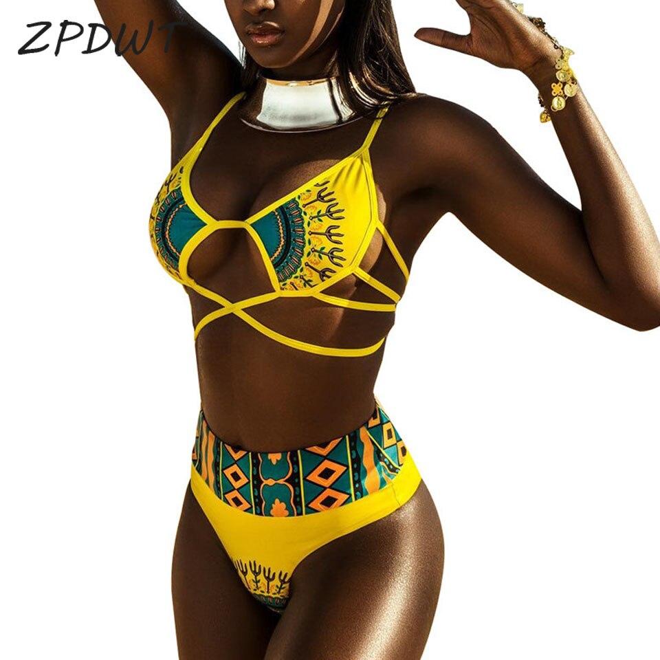 ZPDWT Sexy Tribal Print Badeanzug Frauen Afrikanische Bademode 2018 Neue Plus Größe Badeanzug Hohe Taille Bikini Gelb Strand Schwimmen tragen
