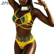 ZPDWT Sexy Tribal Print Bathing Suit Women African Swimwear 2018 New Plus Size Swimsuit High Waist Bikini Yellow Beach Swim Wear