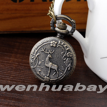 Fashion Vintage Small Deer and Plum flower Pocket Watch Steampunk Necklace Pendant Pocket Watch men s