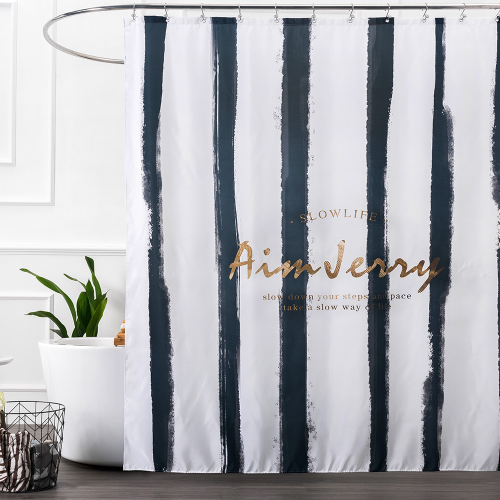 Bathroom bath shower curtain with hooks plain black white cream pink - Aimjerry Black And Gold Striped Fabric London Bathroom Bathtub Shower Curtain Pattern Liner With 12 Hooks 71wx71h Waterproof