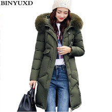 BINYUXD New Female Winter Jackets and Coats Hooded with Big Fake Fur Collar Women Warm Thick Parkas Down Cotton Long Outwear