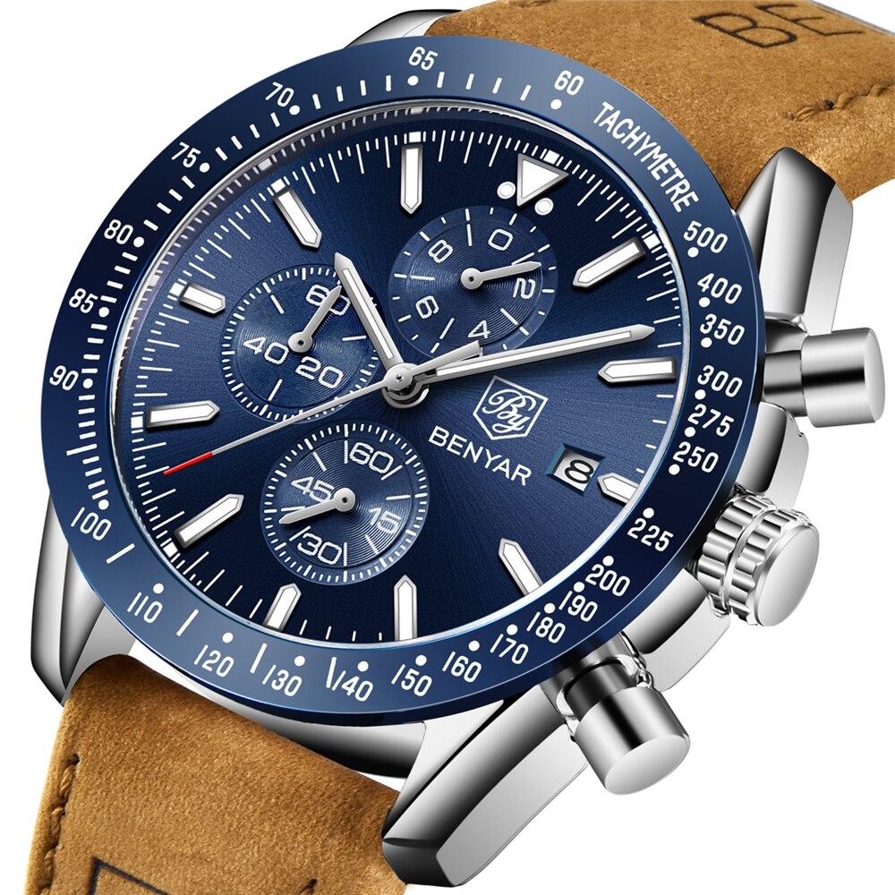BENYAR 2018 新メンズ腕時計ビジネスフル鋼クォーツトップブランドの高級カジュアル防水スポーツ男性腕時計レロジオ Masculino -