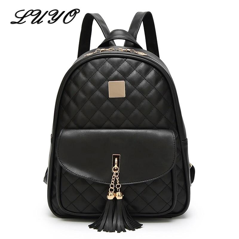 LUYO Classic Fashion Pu Leather Tassel Backpack School Women Mochila Feminina Backpacks For Teenage Girls Sac A Dos Designer