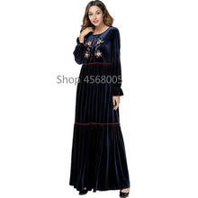 b8887f35a3 De Abayas bordado azul oscuro musulmana vestido de las mujeres Plus tamaño túnica  vestido turco Bangladesh ropa islámica Dubai A..