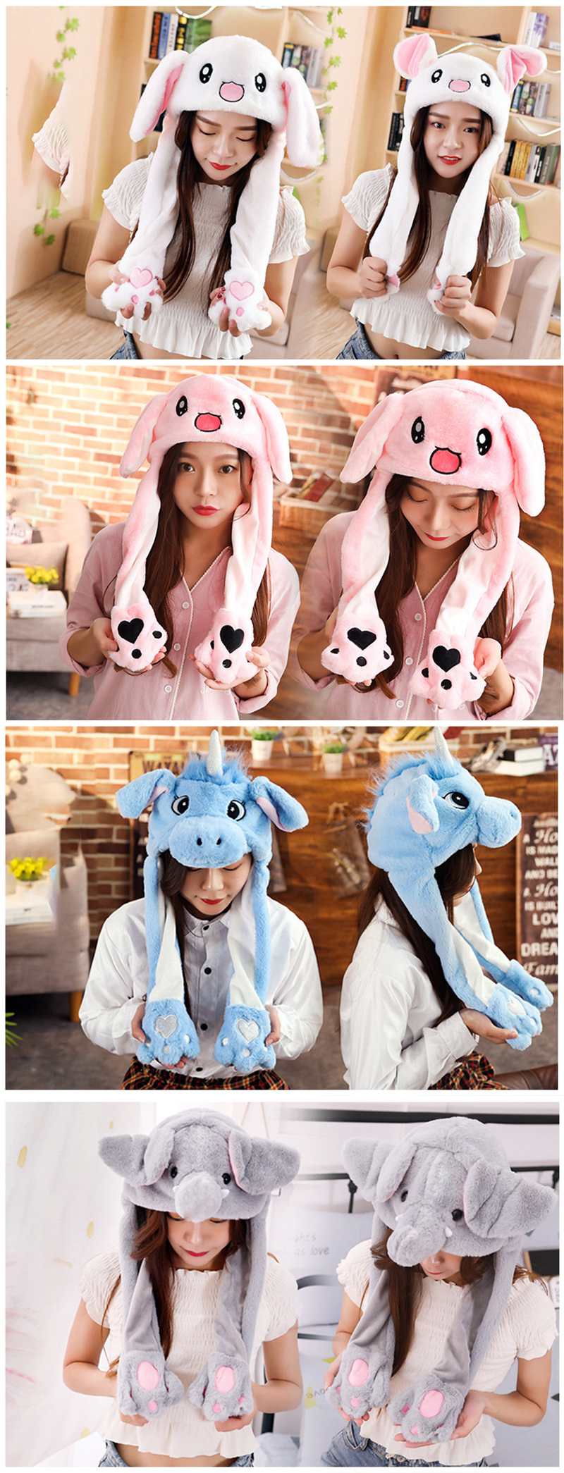 Girl's Accessories 2019 Hot Sell Fashion Moving Hat Rabbit Ears Plush Sweet Cute Airbag Cap 2 Color Can Be Choose Fashionable And Attractive Packages Girl's Hats