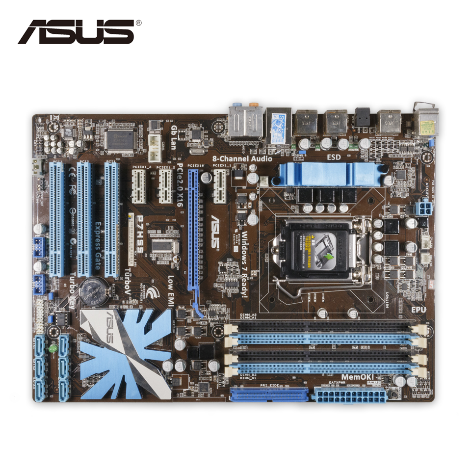 Asus P7H55 Desktop Motherboard H55 Socket LGA 1156 i3 i5 i7 E3 DDR3 ATX On Sale Second-hand High Quality asus maximus vii ranger desktop motherboard m7r z97 socket lga 1150 i7 i5 i3 ddr3 32g sata3 atx second hand high quality
